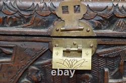 Camphor Wood Jewelry Trinket Box Vintage Chinese Hand Carved Lock Early 1900's