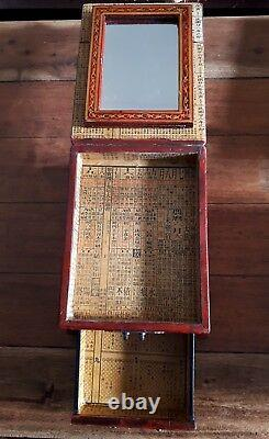 Chinese 1930's red lacquer jewellery box with mirror
