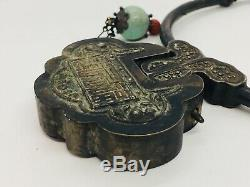 Chinese Antique Sterling Silver Turquoise & Coral Wedding Box Necklace