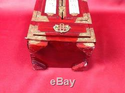 Chinese Antique Vintage Wooden Jewelry Accessory Box w Metalwork & Carved Stone