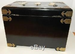 Chinese Black Lacquer Large Jewelry Box Hand Carved Painted MOP Figures
