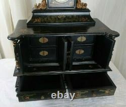 Chinese Black Lacquered Jewelry Box with Clock
