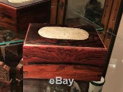 Chinese Carved Rose Wood Jewelry box Inlaid White Jade Plaque/pendant, Very Rare