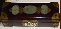 Chinese Celadon Jade Red Wood Jewelry Trunk Box With Lock And Key