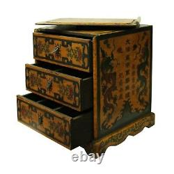Chinese Distressed Yellow Black Dragon Graphic Trunk Box Chest cs4723