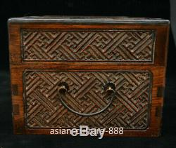 Chinese Dynasty Palace Huang Huali Wood Storage Jewelry Box Treasure Case Statue