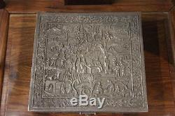 Chinese Folk Handmade Carve Engraved Pure Silver Jewellery Box jewel case Box