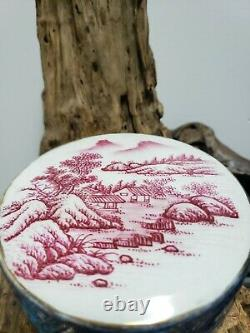 Chinese Hand Painted Blue &Red Porcelain Jewelry Box