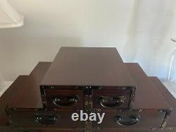 Chinese Hardwood Apothecary Jewelry Apothecary Box Drawers Ogee Brackets & Feet