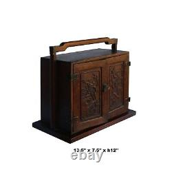 Chinese Huali Rosewood 4 Drawers Flower Carving Storage Box Chest ws1036