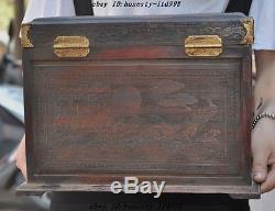 Chinese Huanghuali Wood Carved Ancient woman Dressing table Jewelry Box Cabinet