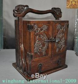 Chinese Huanghuali Wood Carved Phoenix drawer storage box jewelry Boxes Cabinet