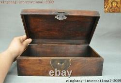 Chinese Huanghuali Wood Hand carved Kylin Qilin Beast jewelry Storage Box Boxes