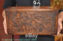 Chinese Huanghuali wood carved pine bamboo Plum flower statue Jewelry Box boxes