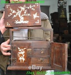 Chinese Huanghuali wood inlay shell Swallow bird Jewelry boxes medicine chest