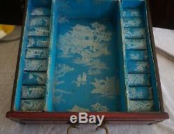 Chinese JEWELRY CHEST Wood / Brass / White Nephrite Jade Insets LARGE 18