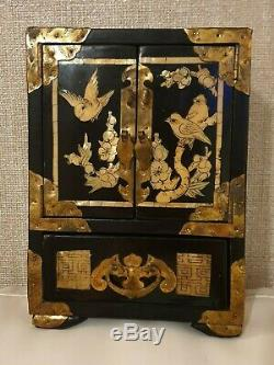 Chinese Jewellery Box Antique Black Lacquer Mother Of Pearl