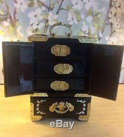 Chinese Jewellery Box Wood Black Mother Of Pearl Brass Embellished Drawers