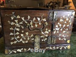 Chinese Jewelry Box 1700s Antique Hardwood And Shell Inlays