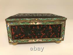 Chinese Jewelry Box, Enamel Cloisonné and Red and Black Lacquer Cinnabar, VTG