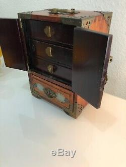 Chinese Jewelry Box Wood with Brass & Jade Accents