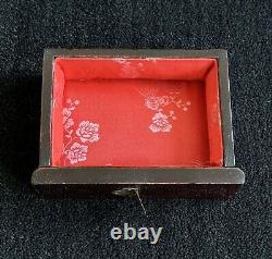 Chinese Jewelry Box carved stone inserts 3 drawer chest