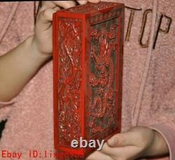 Chinese Lacquer wood Hand-carved auspicious animal Dragon pattern Jewelry Box