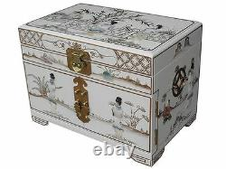 Chinese Mother Of Pearl Hand Painted White Lacquered Jewellery Box
