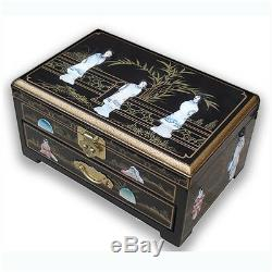 Chinese Mother Of Pearl Oblong Black Lacquered Jewellery Box