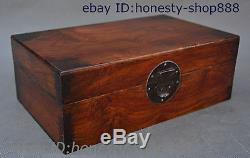 Chinese Natural Huang Huali Wood Carved Storage Jewelry Box Treasure Case Statue