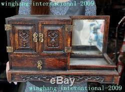 Chinese Noble Huanghuali wood Carving Flower Ancient Jewelry Box Dressing case A