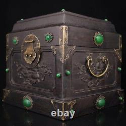 Chinese Old rosewood handmade Build Gem setting jade Jewelry Box A