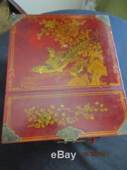 Chinese Painted Jewelry Box With Mirror