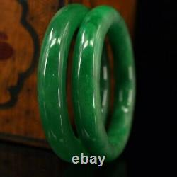 Chinese Qing Dynasty Court collection Green jade bracelet + Box