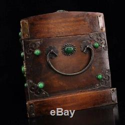 Chinese Qing Dynasty Old rosewood handmade Build Mosaic shell jade Jewelry Box