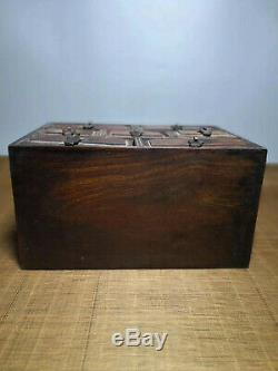 Chinese Qing Dynasty antique Yellow Boxwood wood Jewelry box Storage Box EVO
