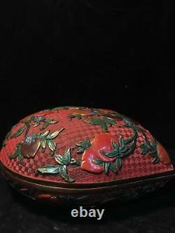 Chinese Qing Qianlong marked Old Lacquer ware Peach shape Jewelry box