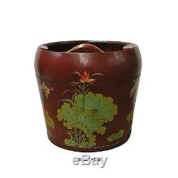 Chinese Red Flower Butterflies Round Large Wood Bucket cs3635