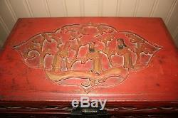 Chinese Red Gold Carved Jewelry Box Cabinet