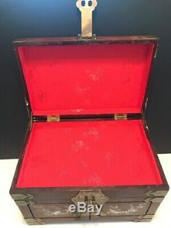 Chinese Rosewood Brass & Mother of Pearl Inlay 3 Drawer Silk Lined Jewelry Box