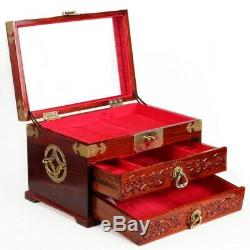 Chinese Rosewood Carved Jewelry Storage Box Wedding Gift