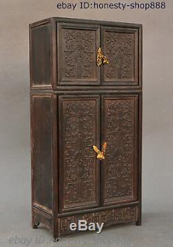 Chinese Rosewood Cupboard Cabinet Sark Storage Jewelry Box Treasure Case Statue