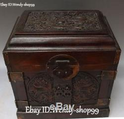 Chinese Rosewood Wood Ancient Dragon Loong Casket Jewelry Box Case Boxes Statue