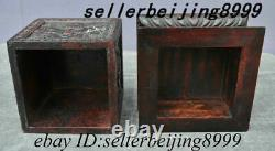 Chinese Rosewood Wood Dragon Loong Emboss Totems Seal Stamp Storage Jewelry Box
