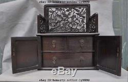 Chinese Rosewood wood Furniture carved flower bird Jewelry Box Dressing table