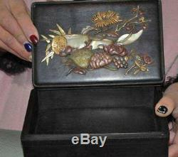 Chinese Rosewood wood inlay shell shoushan stone old jade Lotus root Jewelry Box