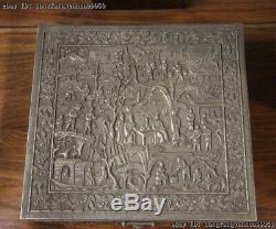 Chinese Royal Handmade Carve Engraved Pure Silver Jewellery Box jewel case Box