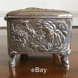 Chinese Silver Jewellery Box, Decorated With Chrysanthemums. Tuck Chang, c. 1890