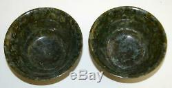 Chinese Spinach Jade Bowls With Box