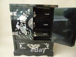 Chinese Vintage Black Lacquer and Mother of Pearl Jewellery/Trinket Box